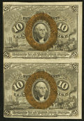 Fractional Currency:Second Issue, Fr. 1246 10¢ Second Issue Vertical Pair Choice About Uncirculated.. ...