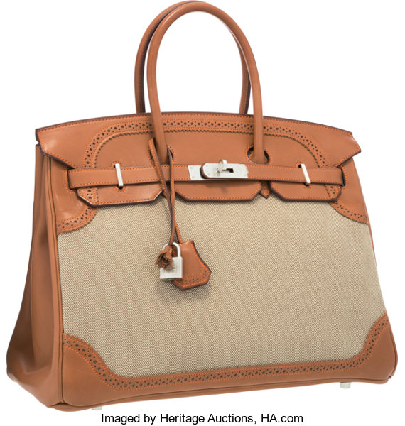 5e7209df403 Hermes Limited Edition 35cm Natural Barenia Leather