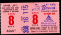 Baseball Collectibles:Uniforms, 1974 Hank Aaron 715th Home Run Game Ticket Stub....