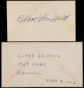 Baseball Collectibles:Others, 1952 Clark Griffith Signed Government Postcard....