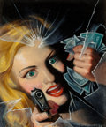 Paintings, Rafael Desoto (American, 1904-1992). Murder A.W.O.L., Black Mask magazine cover, 1944. Oil on board. 10.5 x 8.75 in.. Si... (Total: 2 Items)