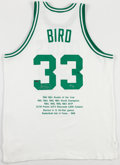 Basketball Collectibles:Uniforms, Larry Bird Signed Boston Celtics UDA Jersey....
