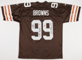 Football Collectibles:Uniforms, 1999 Tim Couch, Otto Graham and Jim Brown Multi Signed Cleveland Browns Jersey....