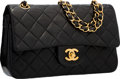 "Luxury Accessories:Bags, Chanel Black Quilted Lambskin Leather Small Double Flap Bag withGold Hardware. Very Good Condition. 9"" Width x 5.5""H..."