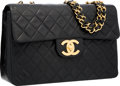 "Luxury Accessories:Accessories, Chanel Black Quilted Lambskin Leather Jumbo Single Flap Bag withGold Hardware. Good to Very Good Condition. 12""Width..."