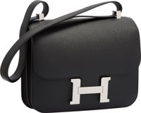 Hermes 23cm Black Epsom Leather Double Gusset Constance Bag with Palladium Hardware Excellent to Pristine Condi