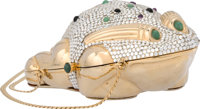 """Judith Leiber Half Bead Silver Crystal Frog Minaudiere Evening Bag Excellent Condition 3.5"""" Width"""
