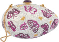 "Luxury Accessories:Bags, Judith Leiber Full Bead Pink & Silver Crystal Butterfly Egg Minaudiere Evening Bag. Excellent Condition. 5"" Width x 3""..."