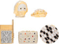 Luxury Accessories:Accessories, Judith Leiber Set of Five; Half Bead Black & Clear CrystalPillboxes, Compact Mirror and Notebook. Very Good Condition....