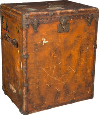 "Louis Vuitton Vachetta Leather Trunk, circa 1920's Fair Condition 26.5"" Width x 33.5"" Height x 20"