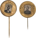 Political:Ferrotypes / Photo Badges (pre-1896), Abraham Lincoln and George McClellan: Matching FerrotypeStickpins.... (Total: 2 Items)