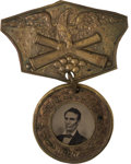 Political:Ferrotypes / Photo Badges (pre-1896), Abraham Lincoln: Back-to-Back Ferrotype Badge with Hanger....