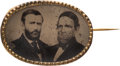 Political:Ferrotypes / Photo Badges (pre-1896), Grant & Colfax: Oval Ferrotype Jugate....