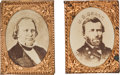Political:Ferrotypes / Photo Badges (pre-1896), Grant & Wilson: Pair of Gem Albumen Badges.... (Total: 2 Items)