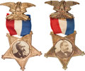 Political:Ferrotypes / Photo Badges (pre-1896), Grover Cleveland and Benjamin Harrison: Pair of GAR CardboardBadges.... (Total: 2 Items)