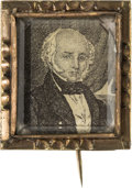 Political:Ferrotypes / Photo Badges (pre-1896), Martin Van Buren: Engraved Portrait Brooch....