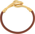 "Luxury Accessories:Accessories, Hermes Natural Bridle Leather Jumbo Bracelet with Gold Hardware.Excellent Condition. 7"" Length. ..."