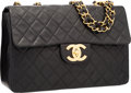 """Luxury Accessories:Bags, Chanel Black Quilted Lambskin Leather Maxi Single Flap Bag withGold Hardware. Very Good Condition. 13"""" Width x 9""""Hei..."""