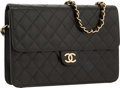 "Luxury Accessories:Bags, Chanel Black Quilted Lambskin Leather Medium Single Flap Bag withGold Hardware. Very Good Condition. 10"" Width x 7""H..."