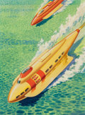 Pulp, Pulp-like, Digests, and Paperback Art, James B. Settles (American, 20th Century). Jet Skis of Tomorrow,Fantastic Stories back cover, April 1945. Watercolor an...(Total: 2 Items)