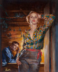 Pulp, Pulp-like, Digests, and Paperback Art, James Avati (American, 1912-2005). Beyond the Forest, paperbackcover, 1949. Oil on board. 16.25 x 13.25 in. (image). Si...