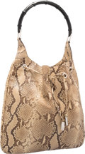 "Luxury Accessories:Bags, Gucci Natural Python & Black Bamboo Hobo Bag. ExcellentCondition. 15"" Width x 13"" Height x 2"" Depth. ..."