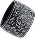 "Luxury Accessories:Accessories, Chanel Black & White Enamel Paisley Cuff Bracelet with Silver Hardware. Excellent Condition. 2.5"" Width x 6"" Length..."