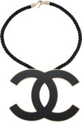 """Luxury Accessories:Accessories, Chanel Black Enamel & Champagne Gold CC Necklace. Very Goodto Excellent Condition. 4.5"""" Width x 16"""" Length. ..."""