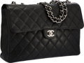 "Luxury Accessories:Bags, Chanel Black Quilted Caviar Leather Jumbo Single Flap Bag with Silver Hardware. Very Good Condition. 12"" Width x 8"" He..."