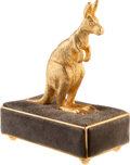 "Luxury Accessories:Home, Judith Leiber Gold & Gray Suede Kangaroo Decorative Figure.Excellent Condition. 2.5"" Width x 5"" Height x 4""Depth. ..."