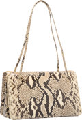 "Luxury Accessories:Bags, Judith Leiber Natural Python Tote Bag with Gold Hardware. VeryGood Condition. 8"" Width x 5"" Height x 4"" Depth. ..."