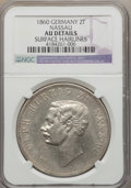 German States:Nassau, German States: Nassau United Lines. Adolph 2 Taler 1860 AU Details (Surface Hairlines) NGC,...