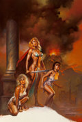Pulp, Pulp-like, Digests, and Paperback Art, Boris Vallejo (American, b. 1941). Warrior Queen (Pompeii),movie poster, 1986. Oil on board. 24.5 x 16.5 in. (sight). S...