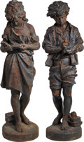 Movie/TV Memorabilia:Original Art, A Pair of Cast Iron Garden Figurines of Children Studying, FirstHalf 20th Century.... (Total: 2 Items)