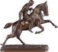 Movie/TV Memorabilia:Original Art, Patinated Bronze Figure of a Polo Player on Horseback, AfterIsadore Jules Bonheur (1827-1901), 20th Century....