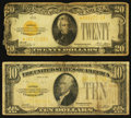 Small Size:Gold Certificates, Fr. 2400 $10 1928 Gold Certificate. Fine;. Fr. 2402* $20 1928 Gold Certificate Star. Good-VG.. ... (Total: 2 notes)