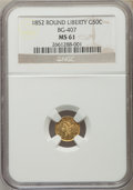 California Fractional Gold: , 1852 50C Liberty Round 50 Cents, BG-407, R.4, MS61 NGC. NGC Census:(5/11). PCGS Population (5/46). ...