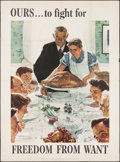 """Movie Posters:War, Norman Rockwell Four Freedoms Propaganda Poster (U.S. GovernmentPrinting Office, 1943). OWI Poster No. 45 (40"""" X 56"""") """"Free..."""
