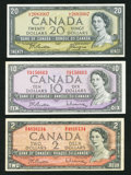 Canadian Currency: , 1954 Modified Portrait Notes.. ... (Total: 3 notes)