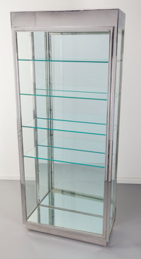 Leon Rosen (American, 20th Century) Vitrine, circa 1970, Pace Collection Polished chrome, glass, ele