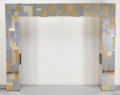 Furniture : American, Paul Evans (American, 1931-1987). Illuminated Cityscape King Headboard, circa 1975, Directional. Brass, stainless steel,... (Total: 3 Items)