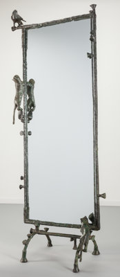 Ilana Goor (Israeli, b. 1936) Pigeon and Cats Floor Mirror, circa 1980 Bronze, iron, mirrored glass<