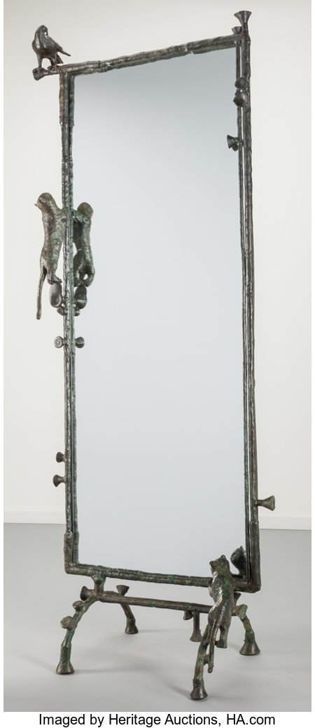 Ilana Goor (Israeli, b. 1936)Pigeon and Cats Floor Mirror, circa 1980Bronze, iron, mirrored glass77-1/4 x 28-3/4 x...
