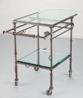 Furniture , Ilana Goor (Israeli, b. 1936). Serving Cart with Birds, circa 1985. Enameled iron, bronze with green patina, glass. 34-1... (Total: 3 Items)