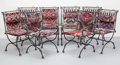 Furniture , Ilana Goor (Israeli, b. 1936). Eight Dining Chairs. Enameled iron, Kilim, catsers. 37-1/4 x 25-1/4 x 23 inches (94.6 x 6... (Total: 8 Items)