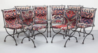 Ilana Goor (Israeli, b. 1936) Eight Dining Chairs Enameled iron, Kilim, catsers 37-1/4 x 25-1/4 x