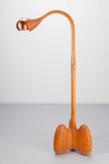 Lighting:Lamps, American School (20th Century). Floor Lamp, 1974. Oak, copper, lighting fixture. 66-1/4 inches high (168.3 cm). Base inc...