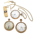 Timepieces:Pocket (post 1900), Two Elgin's & One Burlington Pocket Watches. ... (Total: 3 Items)