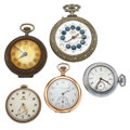 Timepieces:Pocket (post 1900), Five Pocket Watches For Parts Or Repair. ... (Total: 5 Items)