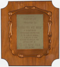 Baseball Collectibles:Others, 1963 Pee Wee Reese Field (Radcliff, KY) Dedication Plaque....